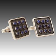 Mid Century Modern Cufflinks 835 Silver with Lapis Lazuli Gems, Toggle Back Cuff Links