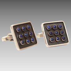 Mid Century Modern Cufflinks 835 Silver with Lapis Lazuli Gems, Toggle Back Cuff Links