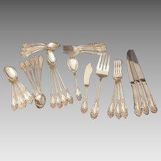 Reed & Barton Tiger Lily Silverplate Flatware, Festivity Silver Plate Silverware Set 31 Pieces, No Monograms