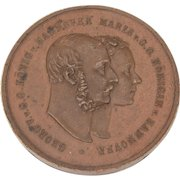 King George V of Hanover and Marie 1868 Bronze Medal Commemorating Silver Wedding Anniversary in Heitzing, Austria, Last King of Hannover