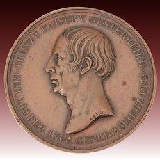 1835 Bronze Mourning Medal By Henri Brandt, Death of Franz I Emperor Austria, Holy Roman Empire