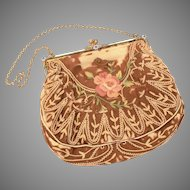 Antique French Purse Frame Mother of Pearl & Enamel, MBW Silk Purse, Metro Bag Works Hand Bag, Paris France Fashion
