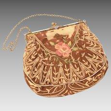 Antique French Purse Frame Mother of Pearl & Enamel, MBW Silk Purse, Metro Bag Works Hand Bag, Paris France Fashion