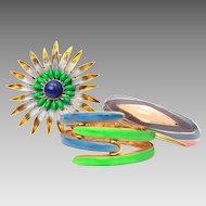 "Original by Robert & Vendome 1970s Retro Enamel Clamper Bracelet Pair & Large 3"" Starburst Flower Pin"
