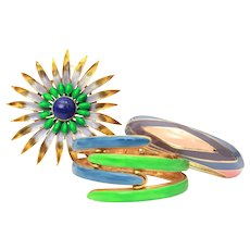 "Original by Robert & Vendome 1970s Retro Enamel Clamper Bracelet Pair & Large 3"" Starburst Flower Pin"