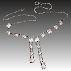 Art Deco Sterling Necklace with Open Back Square Crystal Gem Dangles, Small