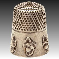 Rare Dolly Varden Sterling Thimble from Stern Bros., Antique Sewing Tool