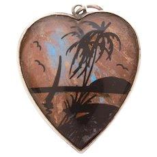 Sterling Butterfly Wing Heart Pendant, Beach Scene Silhouette, Travel Souvenir, Morpho Butterfly