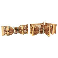 Hobe Mesh Bow Bracelet & Pin with Amber Rhinestones & Aurora Borealis Chatons, Dimensional Brooch & Cuff