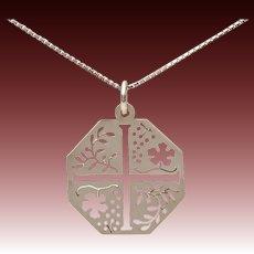 "LEM Sterling Maltese Cross Pendant with Pierced Leaf & Flower Design on 22.25"" Sterling Box Chain Italy"