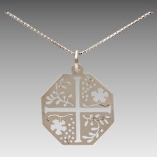 "LEM Sterling Maltese Cross Pendant with Pierced Leaf & Flower Design on 22.25"" Sterling Box Chain Italy"