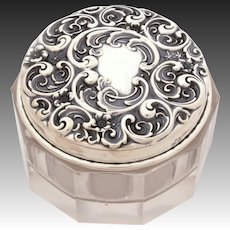 Ornate Antique Whiting Sterling Repousse Dresser Jar, Vanity Rouge Pot, Repousse Silver