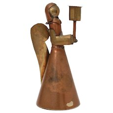 """Peggy Page Mexico Mixed Metals Angel Candlestick Holder, 3"""" Brass & Copper Mid Century Candle Holder"""