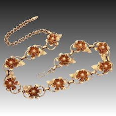 Pretty Flower & Faux Pearl Necklace with Raised Dimensional Petals & Leaves on Link Chain