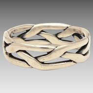 James Avery Braided Sterling Ring Woven Design, Silver Weave, Size 6