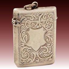 1903 Sterling Vesta Engraved Shield, Birmingham Solid Silver Match Safe Pocket Watch Fob