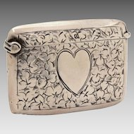 Antique 1913 Sterling Vesta Match Safe Engraved Heart & Shamrocks, Thomas & Marshall Birmingham