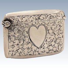 Antique 1913 Sterling Vesta Match Safe Engraved Heart & Shamrocks, Thomas & Marshall Birmingham