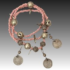 Antique Guatemala Chacal Real Coins & Pink Glass Bead Necklace Guatemalan
