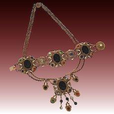Baroque Style Costume Festoon Necklace & Bracelet, Black Glass Cameo & Art Glass Semi Precious Stones, Cold Painted Enamel