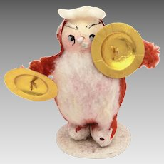 Japan Santa Claus with Gold Cymbals Decoration, Paper Mache, Spun Cotton, Crepe Paper