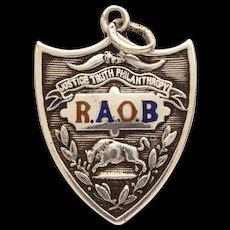1912 Antique Sterling Enamel Fraternal Pocket Watch Fob, RAOB Royal Order Buffalo Crest, Royal Antediluvian Order of Buffaloes
