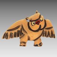 Martha Sleeper Bakelite Owl Pin, Disney Character Bambi Series, Book Piece