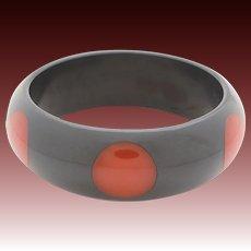 Polka Dot Bakelite Bangle Bracelet, 6 Red Inlaid Dots on Dark Gray