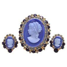 Juliana Blue Glass Cameo Pin Earrings Set, Verified DeLizza & Elster Book Piece D&E
