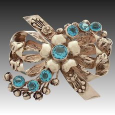 """Large Sterling Hobe Pin Open Back Blue Crystal Stones, Ornate Layers of Bows & Flowers, 3 3/8"""" Wide"""