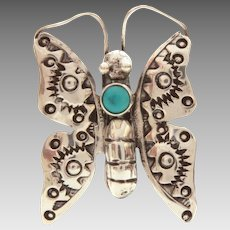 """Navajo Sterling Turquoise Butterfly Pin, Small 1.25"""" Native American Indian Bug Pin"""