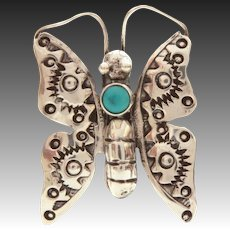 "Navajo Sterling Turquoise Butterfly Pin, Small 1.25"" Native American Indian Bug Pin"