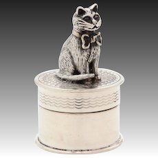 Miniature Sterling Cat Topped Box, Trinket or Pill Box, 1988 English Silver, Full Figure Kitty in Bow Sculpture