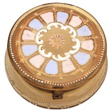 """Antique Moser Enameled Glass Trinket or Powder Box - Enameled Pink, Blue, and White - Small 2 5/8"""" Diameter"""
