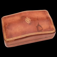 Florentine Leather Humpback Box with Gold Embossed Fleur de Lis, Italian, Florence Italy