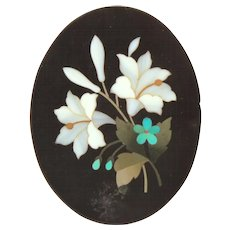 Victorian Mourning Pietra Dura Inlaid Stone Plaque, Lily & Forget Me Not Flowers, Small 1.625""