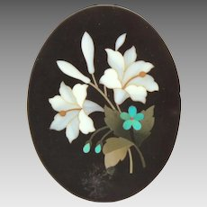 """Victorian Mourning Pietra Dura Inlaid Stone Plaque, Lily & Forget Me Not Flowers, Small 1.625"""""""
