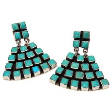 Federico Jimenez Sterling Turquoise Dangle Pierced Earrings, Southwest Jewelry