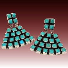 Federico Jimenez Sterling Turquoise Dangle Pierced Earrings, Southwest Jewelry