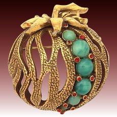 Jeanne Halloween Pumpkin Pin, Peking Glass & red Rhinestones, Fruit Vegetable Brooch, Pomegranate Style