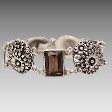 Smoky Quartz Sterling Link Bracelet, Emerald Cut Smokey Quartz Gems, Round Raised Flowers
