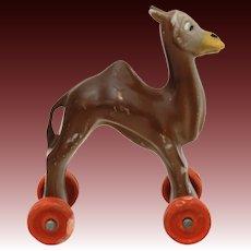 "Vintage Hard Plastic Camel on Wheels, 3.25"" Hong Kong Toy"