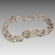 Signed Antique Chinese Paktong Silver White Brass Belt with Dragon & Tiger in Bamboo Forest
