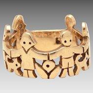 Retired James Avery 14k Gold Paper Dolls Ring, Children Animals & Flowers, Size 7 3/4