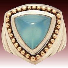 BJC Samuel B Sterling 14k Ring with Triangle Blue Chalcedony Stone, Samuel Behnam, Size 5 3/4