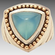 BJC Samuel B Sterling 14k Ring with Triangle Blue Chalcedony Stone, Samuel Behnam, Size 5 3/4