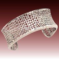 Silpada Sterling Cuff Bracelet, Woven Textile Style