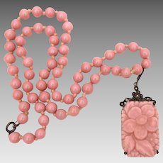 Art Deco Necklace Pink Poured Glass, Sterling, Marcasites - Flower Pendant
