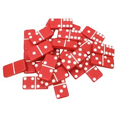 Red Marblelike Dominoes, 28 Domino Tiles, Christmas Decoration, Xmas Game