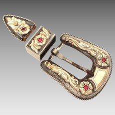 Holland's 105 Belt Buckle Set - Sterling, 14k Gold, Ruby - Ranger Set, Hollands San Angelo, Texas